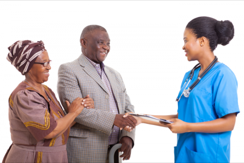nurse shaking hands with clients